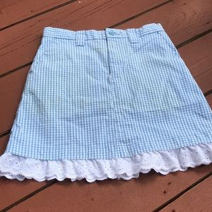 Gap 8 Blue gingham skirt with ruffle
